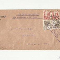 Sellos: CIRCULADA 1937 SEVILLA A LA HABANA CUBA POR VAPOR SATURNIA VIA GIBRALTAR CON CENSURA Y SELLO LOCAL. Lote 294119403