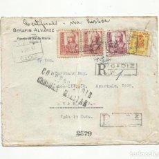 Sellos: CIRCULADA 1937 DE PUERTO SANTA MARIA CADIZ A LA HABANA CUBA CON CENSURA MILITAR Y SELLO LOCAL. Lote 294119503
