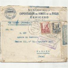 Sellos: CIRCULADA 1937 DE SINDICATO DE VINOS DE CENICERO RIOJA A LA HABANA CUBA CON CENSURA MILITAR. Lote 294119863