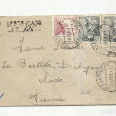 Sellos: CIRCULADA 1943 DE VILASAR DE MAR BARCELONA A AUDE FRANCIA CON CENSURA GUBERNATIVA. Lote 294120148
