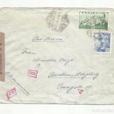Sellos: CIRCULADA 1941 DE MADRID A BERLIN ALEMANIA CON CENSURA GUBERNATIVA Y NAZI. Lote 294120248