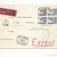 Sellos: CIRCULADA1938 DE BILBAO A LUGANO SUIZA CON CENSURA MILITAR. Lote 294120468