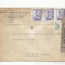 Sellos: CIRCULADA FOMENTO DEL TRABAJO DE BARCELONA A SUIZA CON CENSURA GUBERNATIVA. Lote 294121218