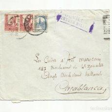 Sellos: CIRCULADA 1937 DE SEVILLA A CASABLANCA MARRUECOS CON CENSURA MILITAR Y SELLO LOCAL. Lote 294121373