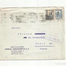 Sellos: CIRCULADA 1937 DE DESTILACIONES CHINCHURRETA SEVILLA A PARIS CON CENSURA MILITAR. Lote 294121728