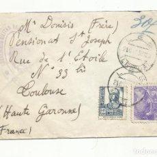 Sellos: CIRCULADA 1939 DE LES LERIDA LLEIDA A TOULOUSE FRANCIA CON CENSURA MILITAR. Lote 294121833