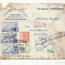 Sellos: CIRCULADA 1943 DE TENERIFE A ZURICH SUIZA CON CENSURA MILITAR Y NAZI. Lote 294121943