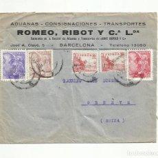Sellos: CIRCULADA 1940 DE BARCELONA A GENEVE SUIZA CON CENSURA MILITAR. Lote 294122118