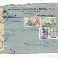Sellos: CIRCULADA 1942 DE GETAFE MADRID A BERLIN CON CENSURA NAZI. Lote 294131143