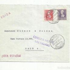 Sellos: CIRCULADA 1939 DE LAS PALMAS A BALE SUIZA CON CENSURA MILLITAR. Lote 294131448