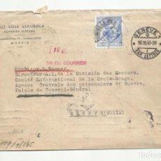 Sellos: CIRCULADA 1943 DE CRUZ ROJA MADRID A GENEVE SUIZA CON CENSURA MILITAR Y NAZI. Lote 294140558