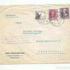 Sellos: CIRCULADA 1939 DE TARRAGONA A ALEMANIA CON CENSURA MILITAR. Lote 294140798