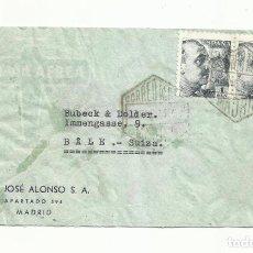 Sellos: CIRCULADA 1943 DE MADRID A BALE SUIZA CON CENSURA GUBERNATIVA. Lote 294142553