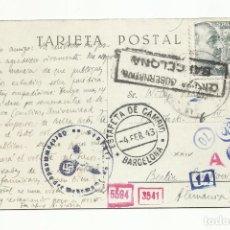 Sellos: POSTAL CIRCULADA 1943 DE SANT CUGAT BARCELONA A BERLIN ALEMANIA CON CENSURA GUBERNATIVA Y NAZI. Lote 294143018
