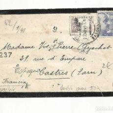 Sellos: POSTAL CIRCULADA 1943 DE BARCELONA A CASTRES FRANCIA OCUPADA CON CENSURA GUBERNATIVA Y NAZI. Lote 294143438