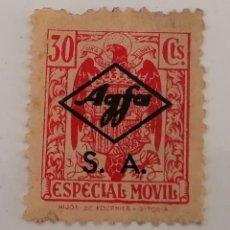 Sellos: TIMBRE ESPECIAL MOVIL 30 CENTIMOS. REMARCADO EMPRESA AGFA, S.A.. Lote 294435178