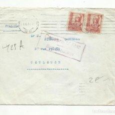 Sellos: CIRCULADA 1937 DE SAN SEBASTIAN GUIPUZCOA A TOULOUSE FRANCIA CON CENSURA MILITAR. Lote 295028383
