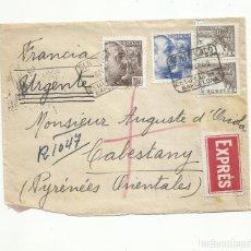 Sellos: CIRCULADA 1940 DE BARCELONA A CABESTANY FRANCIA CON CENSURA MILITAR. Lote 295028878