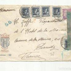 Sellos: CIRCULADA 1938 DE PENSION CISNEROS BARCELONA A BIARRITZ FRANCIA CON CENSURA REPUBLICANA. Lote 295031698