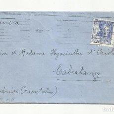 Sellos: CIRCULADA 1943 DE HORTA BARCELONA A CABESTANY FRANCIA CON CENSURA GUBERNATIVA Y NAZI. Lote 295032223
