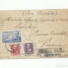 Sellos: CIRCULADA 1939 BARCELONA A CABESTANY FRANCIA CON CENSURA MILITAR. Lote 295032543
