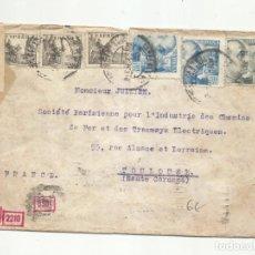 Sellos: CIRCULADA 1941 DE MADRID A TOULOUSE FRANCIA CON CENSURA GUBERNATIVA Y NAZI. Lote 295033018