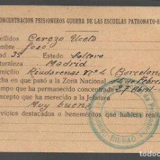 Sellos: BILBAO,. C.CONCENTRACION PRISIONEROS GUERRA ESCUELAS PATRONATO-BILBAO, VER FOTOS. Lote 295535288