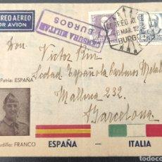 Sellos: GUERRA CIVIL CARTA AVIÓN BURGOS CENSURA MILITAR FRANCO 1939. Lote 295535563