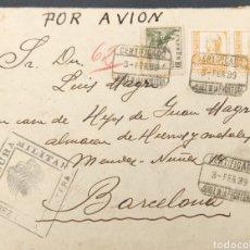 Sellos: GUERRA CIVIL CARTA CERTIFICADA CENSURA MILITAR JEREZ DE LA FRONTERA AMBULANTE MIXTO 1939. Lote 295535758