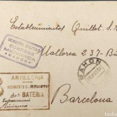 Sellos: GUERRA CIVIL CARTA ARTILLERÍA REGIMIENTO DE COSTA NO 4 BATERÍA CENSURA MENORCA MAHON 1939. Lote 295536433