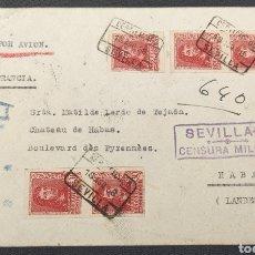 Sellos: ESPAÑA CARTA CERTIFICADA CON SELLOS SIN DENTAR CENSURA SEVILLA Y VIÑETA AL DORSO 1938. Lote 295537718