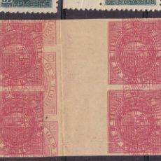 Sellos: FC34-FISCALES MÓVIL 1891. TRIPLE IMPRESIÓN BLOQUES DE 4 CON INTERPANEL (*) MACULATURA. Lote 295549028