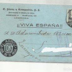 Sellos: TARJETA CIRCULADA 1937 DE ARROZ TOKI NO SE PASA LOGROÑO A ZARAGOZA CON CENSURA MILITAR. Lote 295648893