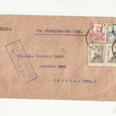 Sellos: CIRCULADA 1938 DE SEVILLA A LA HABANA CON CENSURA MILITAR Y SELLO LOCAL. Lote 295649088