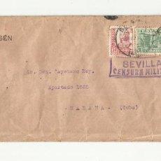 Sellos: CIRCULADA 1937 DE SEVILLA A LA HABANA CON CENSURA MILITAR. Lote 295649368