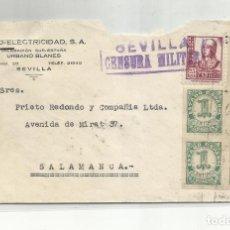 Sellos: CIRCULADA 1938 DE SEVILLA A SALAMANCA CON CENSURA MILITAR Y SELLO LOCAL. Lote 295649638