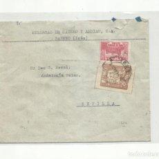 Sellos: CIRCULADA 1937 DE HULLERAS SABERO LEON A SEVILLA CON CENSURA MILITAR Y SELLO LOCAL. Lote 295649848