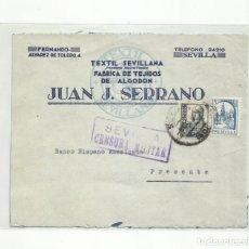 Sellos: CIRCULADA 1938 DE SEVILLA A BANCO HISPANO AMERICANOA A PRESENTE CON CENSURA MILITAR Y SELLO LOCAL. Lote 296567693