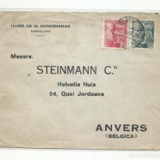 Sellos: CIRCULADA 1939 DE BARCELONA A AMBERES BELGICA CON CENSURA MILITAR. Lote 296579818