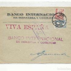 Sellos: FRONTAL CIRCULADA 1937 BANCO INTERNACIONAL DE SEVILLA A AYAMONTE CON CENSURA MILITAR SELLO PERFORADO. Lote 296581518
