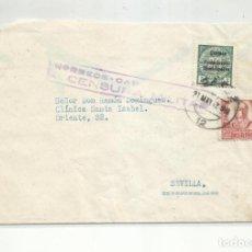 Sellos: CIRCULADA 1937 DE CADIZ A SEVILLA CON CENSURA MILITAR Y SELLO LOCAL. Lote 296581943