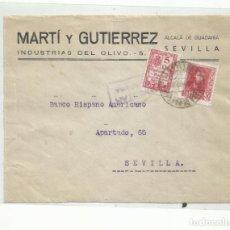 Sellos: CIRCULADA 1938 DE ALCALA DE GUADAIRA A SEVILLA CON CENSURA MILITAR Y SELLO LOCAL. Lote 296582318
