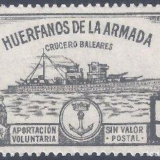 Sellos: HUÉRFANOS DE LA ARMADA. CRUCERO BALEARES 5 PTS. (VARIEDAD...LATERAL DERECHO SIN DENTADO). MNH **. Lote 296623388