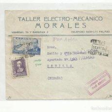 Sellos: FRONTAL CIRCULADA 1939 DE LAS PALMAS CANARIAS A SEVILLA CON CENSURA MILITAR. Lote 296637223