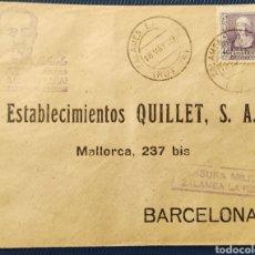 Sellos: GUERRA CIVIL CARTA CON CENSURA MILITAR ZALAMEA LA REAL HUELVA 1939 SALUDOS FRANCO. Lote 296696753