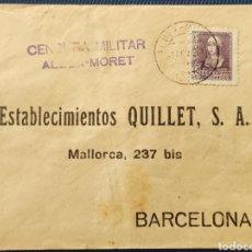 Sellos: GUERRA CIVIL CARTA CON CENSURA MILITAR ALDEA-MORET CACERES 1939. Lote 296713748