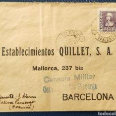Sellos: GUERRA CIVIL CARTA CON CENSURA MILITAR CERVERA RÍO PISUERGA PALENCIA 1939. Lote 296714743