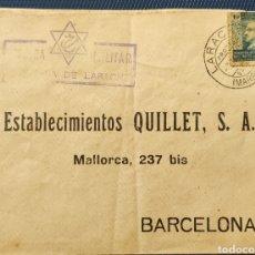 Sellos: GUERRA CIVIL CARTA CON CENSURA MILITAR LARACHE MARRUECOS 1939 SELLO FRANCO. Lote 296719128