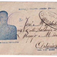 Sellos: SOBRE DEL BATALLÓN DE TRABAJADORES DE ZARAGOZA. A REQUEJO, MIERES, ASTURIAS. CENSURA MILITAR. Lote 296730978