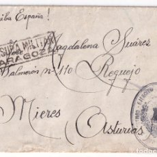 Sellos: SOBRE DEL BATALLÓN DE TRABAJADORES DE ZARAGOZA. A REQUEJO, MIERES, ASTURIAS. CENSURA MILITAR. Lote 296731223